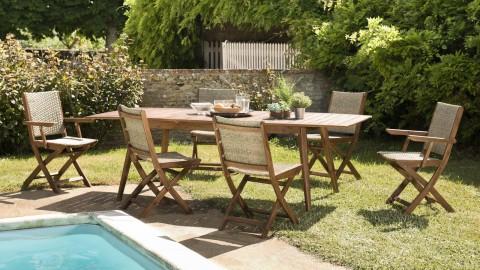 Salon de jardin 6 places en acacia et rotin synthétique avec table extensible - Collection Porto Vecchio