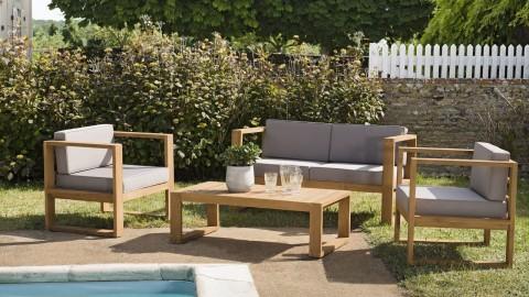 Salon de jardin 4 places en teck avec coussins taupe - Ibiza