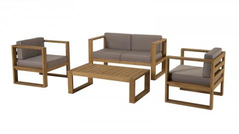 Salon de jardin 4 places en teck avec coussins taupe - Collection Ibiza