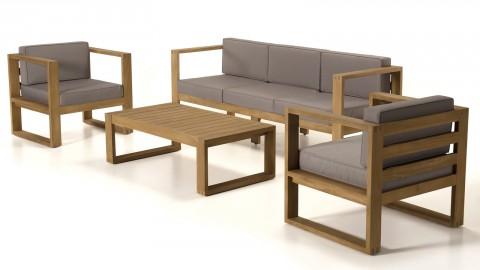 Salon de jardin 5 places en teck avec coussins taupe - Collection Majorque
