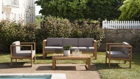Salon de jardin 5 places en teck avec coussins taupe - Majorque