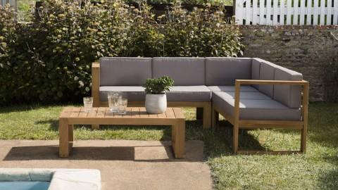 Salon de jardin 5 places en teck avec coussins taupe - Minorque
