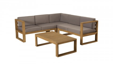 Salon de jardin 5 places en teck avec coussins taupe - Collection Minorque