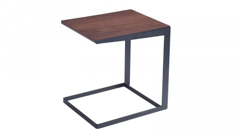 Table d'appoint design 45cm en noyer et pieds en métal noir - Collection Köping