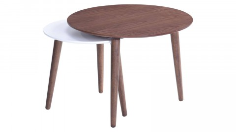 Set de 2 tables d'appoint en noyer, piètement en bois d'hévéa - Collection Köping