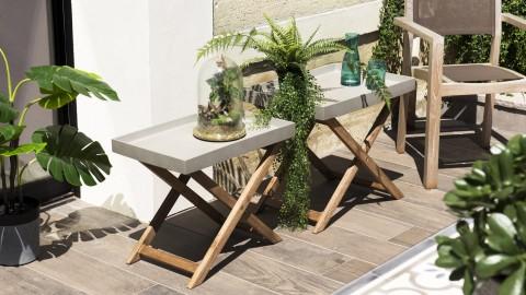 Lot de 2 tables basses de jardin effet béton piètement en acacia - Victor