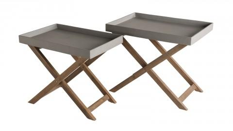 Lot de 2 tables basses de jardin effet béton piètement en acacia - Collection Victor