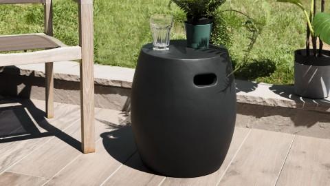 Table d'appoint de jardin ronde en béton noir - Collection Victor