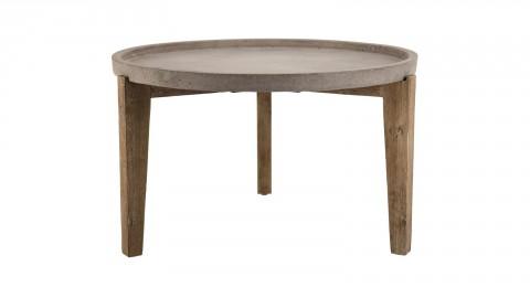Table d'appoint de jardin ronde 80cm en béton piètement en acacia - Collection Victor