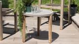 Table d'appoint de jardin ronde 50cm en béton piètement en acacia - Victor