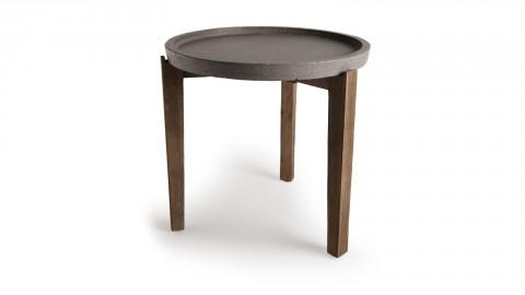 Table d'appoint de jardin ronde 50cm en béton piètement en acacia - Collection Victor