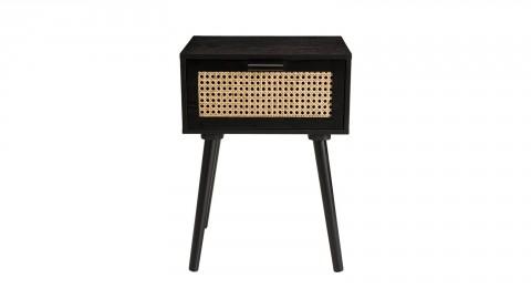 Table de chevet en bois noir avec tiroir en rotin - Collection Angelo