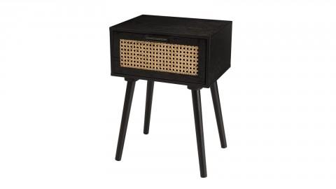 Table de chevet en bois noir avec tiroir en rotin - Collection Angela