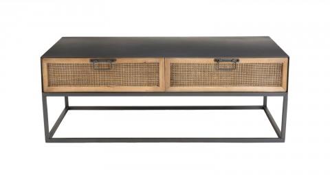 Table basse rectangulaire en métal noir 2 tiroirs en rotin - Collection Victoria