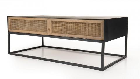 Table basse rectangulaire en métal noir 2 tiroirs en rotin - Collection Doria