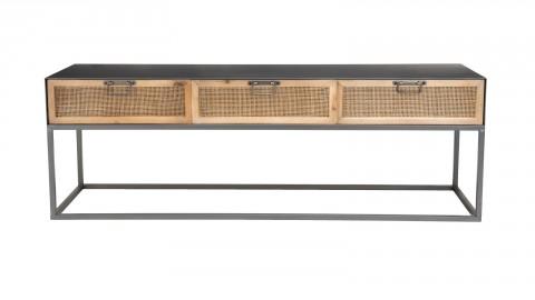 Meuble TV en métal noir 3 tiroirs en rotin - Collection Victoria