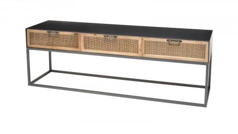 Meuble TV en métal noir 3 tiroirs en rotin - Collection Doria