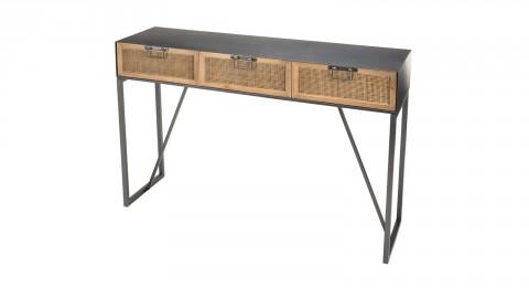 Console en métal noir 3 tiroirs en rotin - Collection Doria