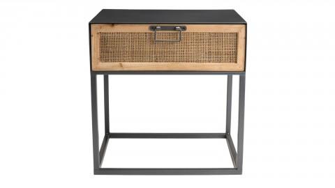 Table de chevet 1 tiroir en rotin et métal noir - Victoria