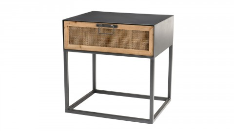 Table de chevet 1 tiroir en rotin et métal noir - Collection Doria