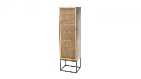Armoire en métal 1 porte en rotin - Collection Doria