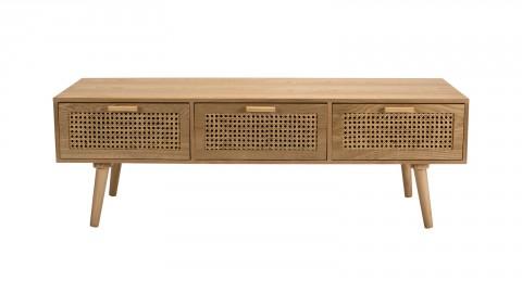 Meuble TV 3 tiroirs en bois naturel et rotin - Collection Rodrigo