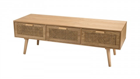 Meuble TV 3 tiroirs en bois naturel et rotin - Collection Rodrigue