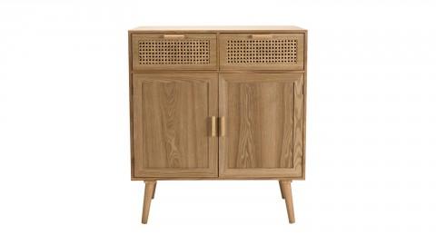 Buffet en bois naturel 2 portes 2 tiroirs en rotin - Collection Rodrigo