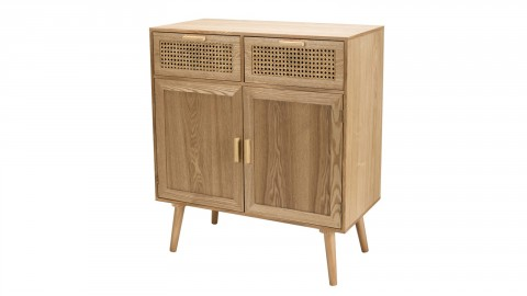 Buffet en bois naturel 2 portes 2 tiroirs en rotin - Collection Rodrigue