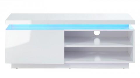 Meuble TV LED 120 cm blanc laqué - Collection Cosmos