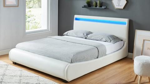 Lit adulte 160x200 blanc avec lumière LED - Collection Orlando
