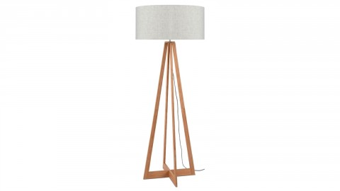 Lampadaire en bambou abat jour en lin clair - Collection Everest - Good&Mojo