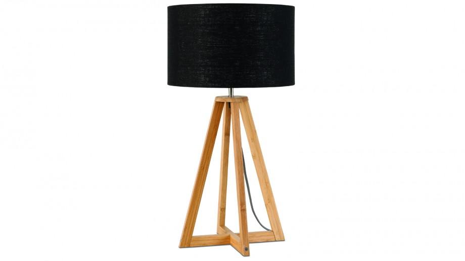 Lampe à poser en bambou abat jour en lin noir Collection Everest - Good&Mojo