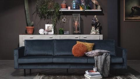 Canapé 3 places en velours bleu - Collection Rodeo - BePureHome