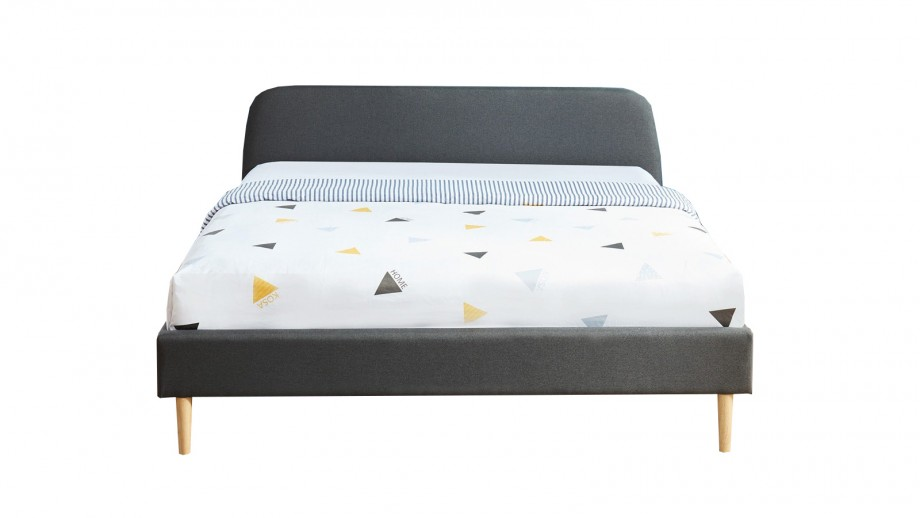 Lit adulte scandinave 160x200 gris foncé - Collection Gaby
