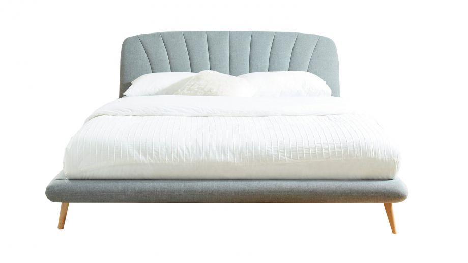 Lit adulte avec tête de lit en tissu gris clair sommier à lattes 160x200cm - Collection Homer