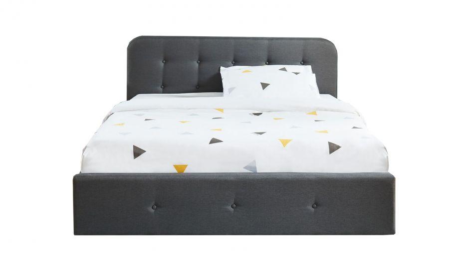 Lit coffre 180x200 cm gris anthracite avec tête de lit + sommier à lattes - Collection Kate