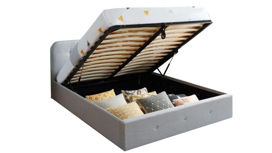 Lit coffre 140x190 cm gris clair avec tête de lit + sommier à lattes – Collection Kate