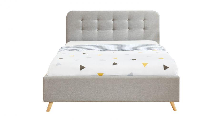 Lit coffre 140x190 gris clair avec tête de lit et sommier à lattes relevable - Collection Léo