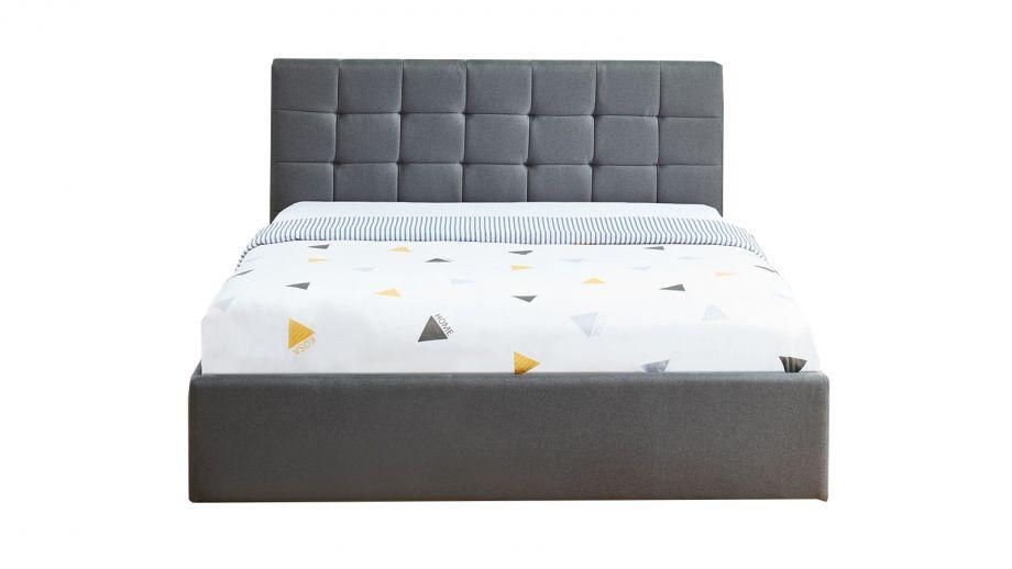 Lit coffre 140x190 gris foncé avec tête de lit + sommier à lattes relevable - Collection Tommy