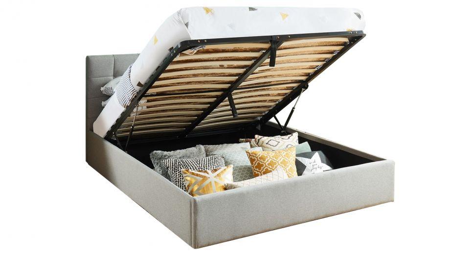 Lit coffre 140x190 gris clair avec tête de lit + sommier à lattes relevable - Collection Tommy