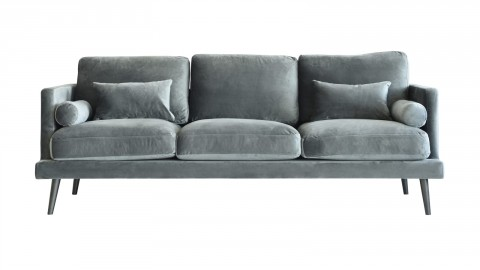 Canapé fixe 3 places en velours gris anthracite - Collection Naelle - Cacharel