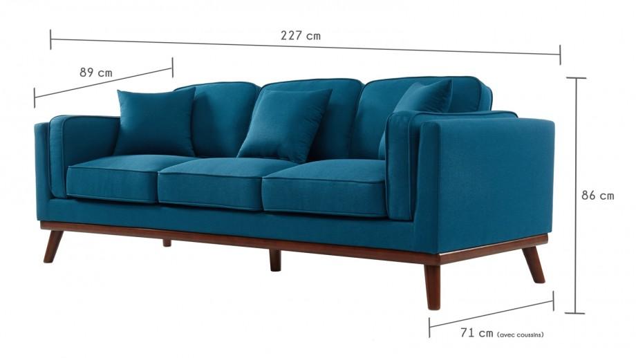 Canapé droit 3 places en tissu bleu canard - Collection Gabin