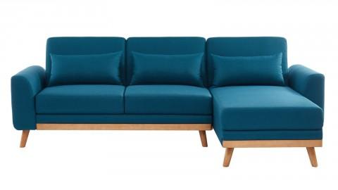 Canapé d'angle scandinave convertible en tissu bleu avec couchage 110x210cm - Collection Mathis