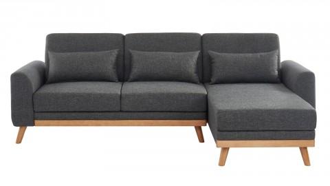 Canapé d'angle scandinave convertible en tissu gris avec couchage 110x210cm - Collection Mathis