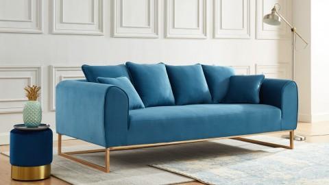 Canapé droit 3 places en tissu bleu canard piètement doré - Collection Thais