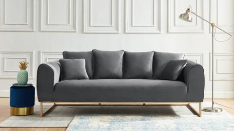 Canapé droit 3 places en tissu gris anthracite piètement doré - Collection Thais