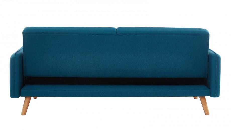 Canapé scandinave 3 places convertible en tissu bleu avec couchage 113x190cm - Collection Theo