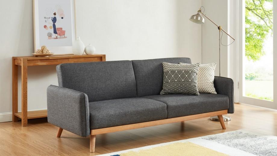Canapé scandinave 3 places convertible en tissu gris anthracite avec couchage 113x190cm - Collection Theo
