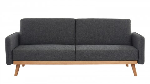 Canapé scandinave 3 places convertible en tissu gris anthracite avec couchage 113x190cm - Collection Theo
